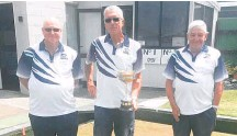 ??  ?? Men's club championsh­ip triples winners, from left, Roy Nugter, Alan Burwell and Tom Chase.