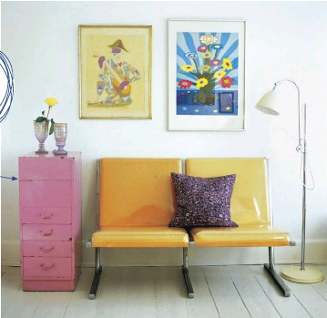 """??  ?? MANY PRELOVED PIECES need a simple makeover. For example, a set of drawers that came from an office looks pretty in a coat of pink paint. """"This came from an office!"""""""