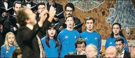 ?? OBRA SOCIAL LA CAIXA ?? Un momento del concierto Cantem el Messies celebrado ayer en el Palau de la Música