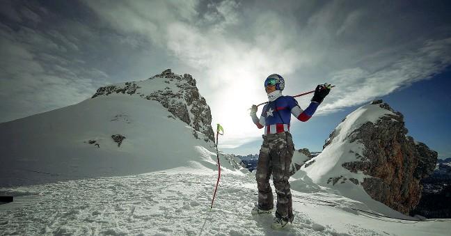 ?? Stelle dello sci ?? La pluricampionessa Linsday Vonn tra le montagne dell'ampezzano in una foto promozionale di una prova di Coppa del Mondo.