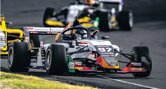 ?? PHOTO: TAYLER BURKE ?? Drama? What drama? Kiwi Supercars driver Shane van Gisbergen, who was forced to start from pit lane, leads the field on his way to victory in the New Zealand Grand Prix at Hampton Downs yesterday.