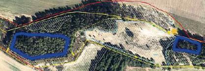 """??  ?? Als neues Projekt geht es nun an den """"Hasenwinkel"""". Im Mittelpunkt der Arbeiten stehen die Flächen, die Andreas Steinert blau eingekreist hat. Die Bäume sollen dort verschwinden. Der Dolomit, der sich auf dem Gelände befindet, wird auch in Zukunft von Wanderern besucht werden können. Karte: Dr. Wiesner Natura  Station"""