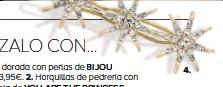 ??  ?? Horquilla dorada con perlas de 3,95€. Horquillas de pedrería con forma de hoja de 2,49€. Horquilla joya con perlitas 1,99€. Pasador dorado con estrellas de strass de 6,95€.