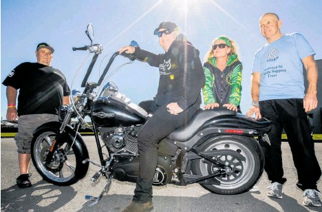 ?? Photo / Paul Taylor. ?? Stop the Stigma Ride organiser, Stephen Lay (left), Chris Matthews, Hawke's Bay Aotearoa Riders Against Teenage Suicide (RATS) chairwoman, Frith Palmer, and STAROS co-founder, Warren Brown are coming together to raise funds and awareness about suicide.