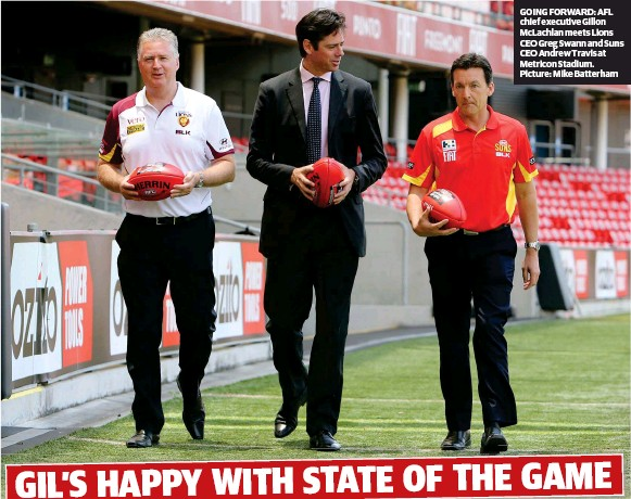 ??  ?? GOING FORWARD: AFL chief executive Gillon McLachlan meets Lions CEO Greg Swann and Suns CEO Andrew Travis at Metricon Stadium. Picture: Mike Batterham