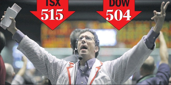 ?? Reuters photo: John Gress ?? PLUMMETING: Trader Jeff Feldman works in the S&P 500 pit Monday at the Chicago Mercantile Exchange. Global markets plummeted after investment bank Lehman Bros. filed for bankruptcy protection and rival Merrill Lynch agreed to be taken over. The TSX dropped 515 points, while the Dow plunged 504.
