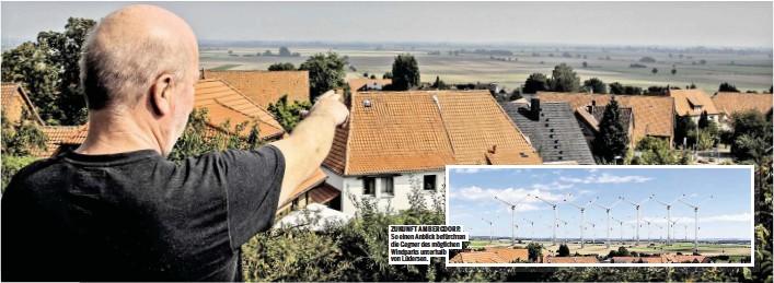 ??  ?? ZUKUNFT AM BERGDORF: So einen Anblick befürchten die Gegner des möglichen Windparks unterhalb von Lüdersen.