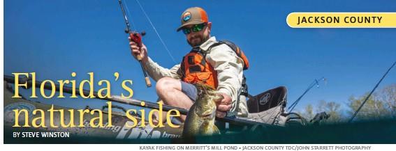??  ?? KAYAK FISHING ON MERRITT'S MILL POND • JACKSON COUNTY TDC/JOHN STARRETT PHOTOGRAPHY