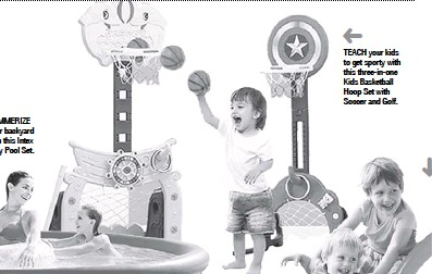 ??  ?? TEACH your kids to get sporty with this three-in-one Kids Basketball Hoop Set with Soccer and Golf.