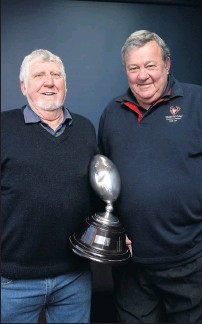 ??  ?? Like yesterday: Captain-coach of Shepparton United's senior premiership team Murray Kick and John Hueston, who captained the thirds grand final win in the same year, recreate a photo seen in The News 50 years ago.