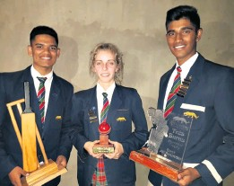 ??  ?? Two Grade 12 pupils dominated the Senior cricket awards - Leylan Vandayar (Most Improved) and Owen Reddy (Best All Round). Grade 10 pupil Cate Oxley won the Most Improved in Cricket trophy
