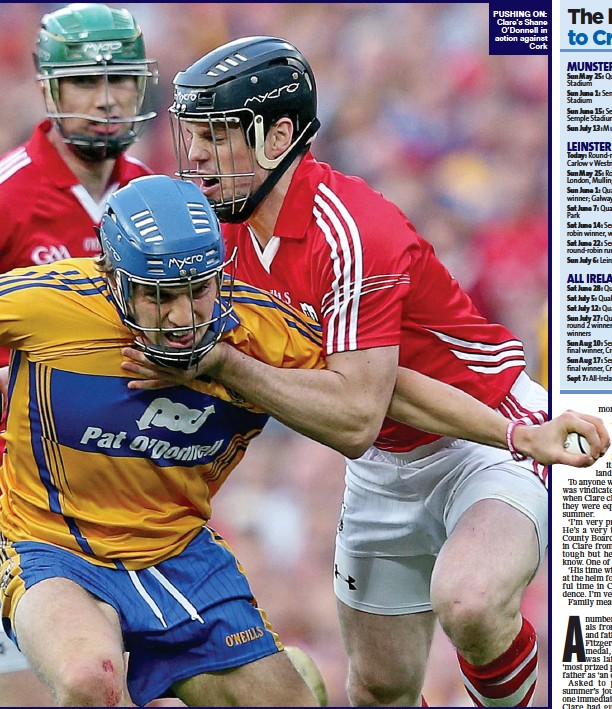 ??  ?? PUSHing On: Clare's Shane O'Donnell in action against Cork
