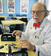 ??  ?? A LIVE WIRE: Professor Bayla (Michael Barta) builds gadgets and teaches at the College of Magic