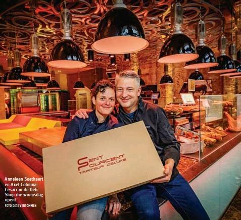 ?? FOTO DIRK VERTOMMEN ?? Anneleen Soethaert en Axel ColonnaCesari in de Deli Shop die woensdag opent.