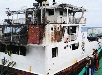 ?? AMBRAD MITZI ?? This is how the bridge of M/V Lite Ferry 28 looks like after it was gutted by fire Sunday.