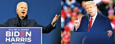 ??  ?? DOWN TO THE WIRE – Demo­cratic pres­i­den­tial can­di­date Joe Bi­den (left) ad­dresses a drive-in cam­paign rally at the Michi­gan State Fair­grounds in Novi, Michi­gan, while US Pres­i­dent Don­ald Trump of the Repub­li­can Party speaks at his own cam­paign rally in Muskegon, Michi­gan, as they ramp up their re­spec­tive public events ahead of the elec­tion on Novem­ber 3.
