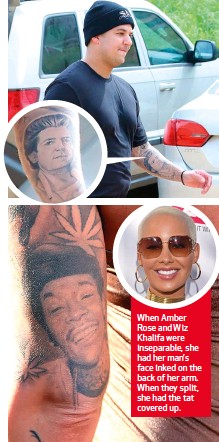 3bafb3f18 When Amber Rose and Wiz Khalifa were inseparable, she had her man's face  inked on the back of her arm. When they split, she had the tat covered up.