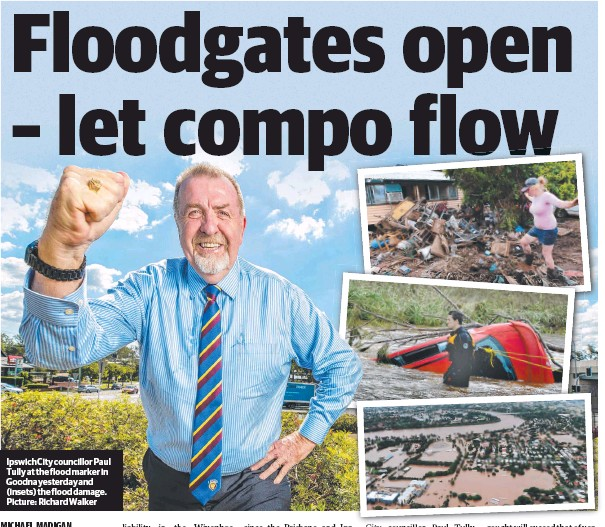 ??  ?? Ipswich City councillor Paul Tully at the flood marker in Goodna yesterday and (insets) the flood damage. Picture: Richard Walker