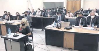 ??  ?? La fiscala Casse Giménez declarando en el juicio oral por el caso audios filtrados del JEM.