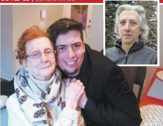 ?? PHOTOS BEN PELOSSE ET COURTOISIE ?? Marie-Thérèse Saint-Onge, 94 ans, ici photographiée avec son petit-fils Sébastien Tremblay, fait beaucoup d'anxiété au moindre changement. Son fils Michel Contant (en mortaise) s'inquiète de ne pouvoir l'accompagner ne serait-ce que virtuellement.