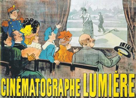 """?? FOTO: AKG-IMAGES GMBH/EPD ?? Werbeplakat von 1896 für die Kinovorstellungen der Brüder Auguste und Louis Lumière im Grand Café in Paris mit einer Szene aus """"Der begossene Begießer""""(Farblithografie von Marcellin Auzolle). Die ersten Vorführungen dauerten etwa 20 Minuten."""