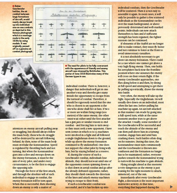 ??  ?? ■ Below: Geschwader battles, the air combat between large formations of aircraft, would nearly always break up into individual one-on-one combats as depicted in this famous photograph which is a montage made in the early 1930s by using models. It was originally passedoff as a genuine air combat photograph.