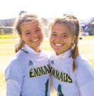 ?? DOUGLAS KILPATRICK/ SPECIALTOTHE MORNING CALL ?? Emmaus senior field hockey players Madison, left, and Mackenzie Bruns will be on the field together one last time when the Green Hornets square off against Central Dauphin in the PIAA Class 3A championship game on Saturday at Whitehall.