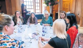 ??  ?? Meet and greet The Post's Abi Smillie, second left, meets Camilla. Pic: Elaine Livingstone for Women In Journalism Scotland