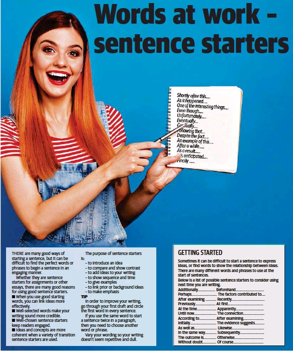 PressReader - The Chronicle: 2018-10-30 - Words at work – sentence starters