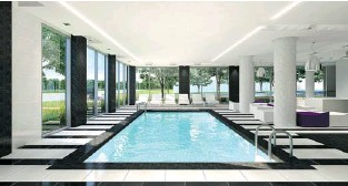 ??  ?? This indoor pool is just one of the amenities offered to condo residents of La Marquise, which also has a sauna and a gym that is fully equipped and up to professional training standards.