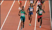 ??  ?? IN FRONT: Caster leads the field in the 800m final. Picture: REUTERS