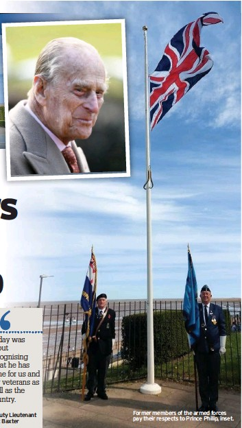 ??  ?? Former members of the armed forces pay their respects to Prince Philip, inset.