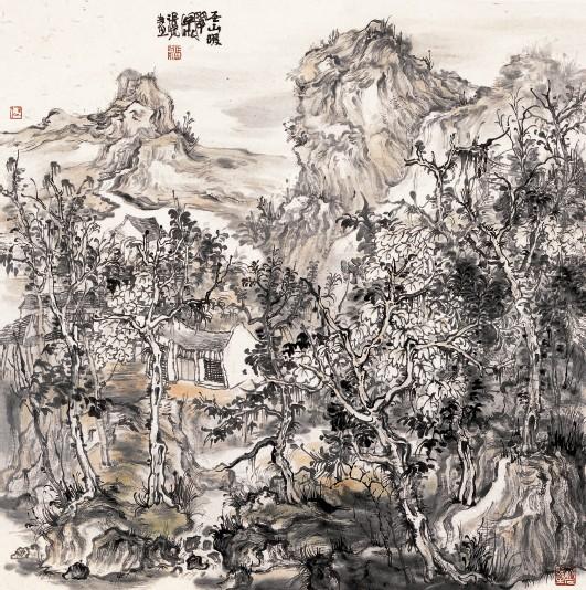 ??  ?? 张 贤/ 圣山暖翠图 68cm×68cm