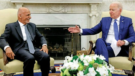 ?? Reuters ?? US President Joe Biden held his first face-to-face meeting with Afghan President Ashraf Ghani at the White House on Friday. Key issues were discussed.
