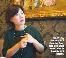 ??  ?? HEE JIN CHO, director of MICE Promotion Team, talks about South Korea's effort to boost the MICE industry.