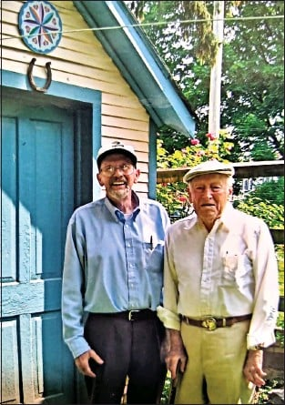 """?? COURTESY OF ELEANOR SHANER ?? Richard H. """"Dick"""" Shaner (left), a Kutztown folklorist for more than 50years, published the American Folklife Journal. He is shown with John Heyl in a 2008 photo. Shaner died at age 82 on Jan. 10, 2021."""
