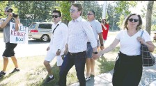 ?? JIM WELLS ?? Health Minister Tyler Shandro and his family were greeted by hecklers at a Canada Day event in Parkland Thursday.