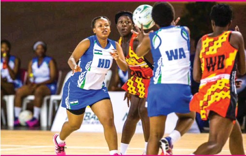 ??  ?? Lesotho in action against Uganda at the 2019 African Netball Championships in South Africa