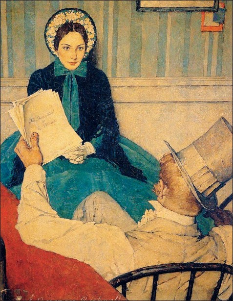 """??  ?? Norman Rockwell , """"Jo e l'editore"""", in una serie dedicata dal pittore americano a """"Piccole donne"""". 1938, olio su tela (Wikipedia)"""