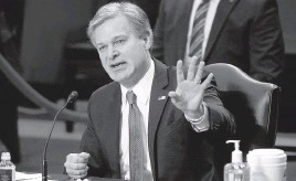 ?? PATRICK SEMANSKY AP ?? FBI Director Christopher Wray told the Senate Judiciary Committee on Tuesday: 'Jan. 6 was not an isolated event. The problem of domestic terrorism has been metastasizing.'