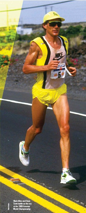 ??  ?? Mark Allen and Dave Scott battle on the run at the 1989 Ironman World Championship