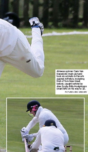 ?? PICTURES: ERIC GREGORY ?? Alrewas spinner Sam Van Daesdonk (main picture) took six wickets in the win against Alfreton, including that of Tom New (inset below), caught behind by Alex Scully. Billy Hodgkinson (inset left) on his way to 32.