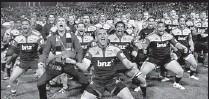 ??  ?? Waikato Chiefs do the Haka before the game