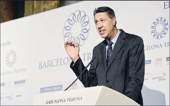 ?? ÀLEX GARCIA ?? El candidato del PP catalán, Xavier García Albiol, ayer en su intervención en Barcelona Tribuna