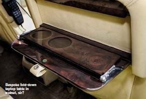 ??  ?? Bespoke fold-down laptop table in walnut, sir?