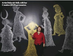 ??  ?? Artist Deborah Kelly with her Creation (2021) procession.