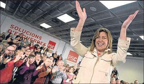 ?? PEDRO MADUEÑO ?? Susana Díaz, presidenta de la Junta de Andalucía, en el último congreso de los socialistas catalanes