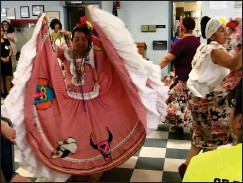 ??  ?? Colombian Dancers from Progreso Latino perform at the Intergener­ational Farmers Market Project at Forand Manor.