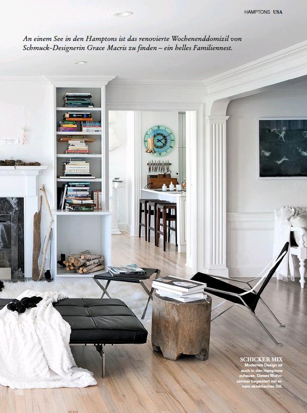 ??  ?? SCHICKER MIX Modernes Design ist auch in den Hamptons zuhause. Dieses Wohnzimmer begeistert mit einem eklektischen Stil.