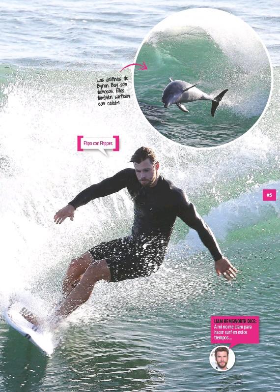 ??  ?? LiAm HEmswortH diCE: A mí no me Liam para hacer surf en estos tiempos...